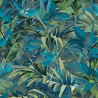 Paradise Flower Wallpaper Blue GranDeco JF2302