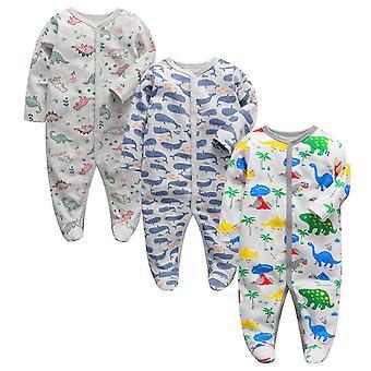 Baby Pyjamas Nyfødte Tøj Spædbarn Sleeper 3,6,9,12 måneder Bomuld Sleepwear