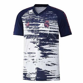 2020-2021 ريال مدريد أداس قميص تدريب ما قبل المباراة (أبيض)