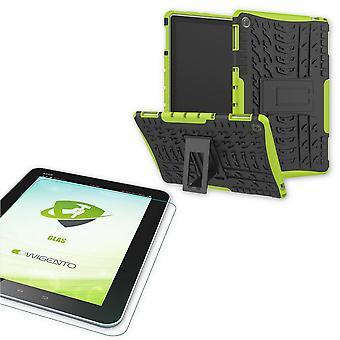 Voor Huawei MediaPad M5 Lite 10.1-inch hybride buiten beschermhoes groene tas + 0,4 H9 bescherming glas