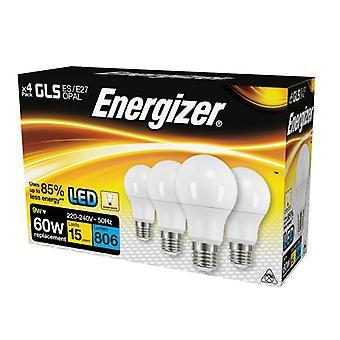 Energizer LED ES (E27) Opal GLS Bombilla no regulable Blanco cálido 806 lm 9.2W (x4)
