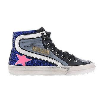 Golden Goose Horsy Glitter Leather Star Blue GWF00116F00023580251 shoe
