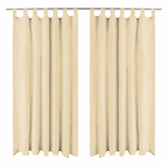 Curtains Micro-Satin 2 pcs. with loops 140x245 cm Beige
