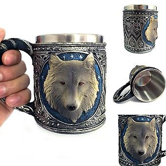 Mug Stainless Steel 3d Wolf Drinking Cup