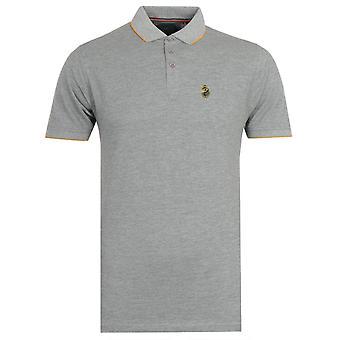 Luke 1977 Ricky Gold Tipped Grey Polo Shirt