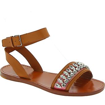 Miu Miu flat sandals in sand leather with crystals