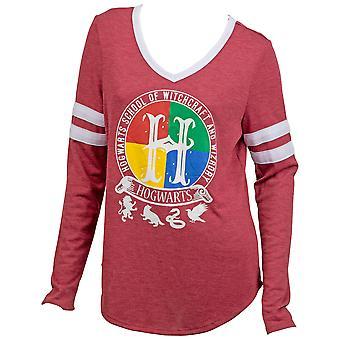 Harry Potter Zweinstein Crest V-Neck Long Sleeve Shirt