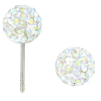Shamballa Disco Ball Kolczyki/stadnina z czeskim kryształem - Ab 8mm - Srebrny