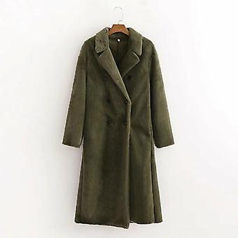 Double-breasted Long Sleeve Loose Long Coat
