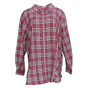 Joan Rivers Classics Collection Women's Plus Top Plaid Shirt Pink A293343
