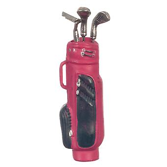 Nuket Talo Miniatyyri Lisävaruste Golf Laukku mailat punaisella