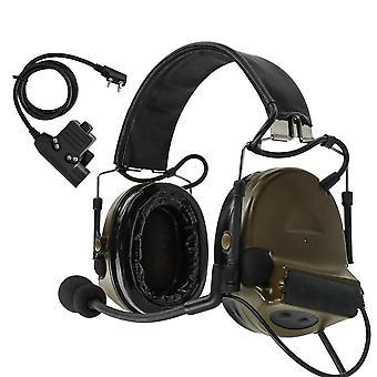 Military Tactical Earmuffs Hearing, Pickup Headset Fg + Ptt U94 Kenwood Plug