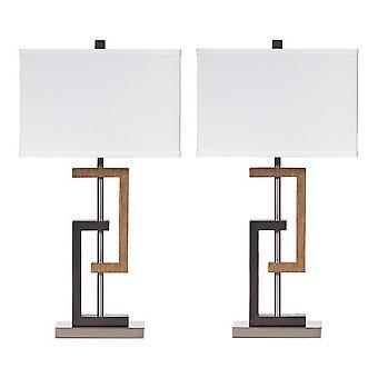 Lámpara de mesa Hardback base de celosía, set de 2, marrón y plata
