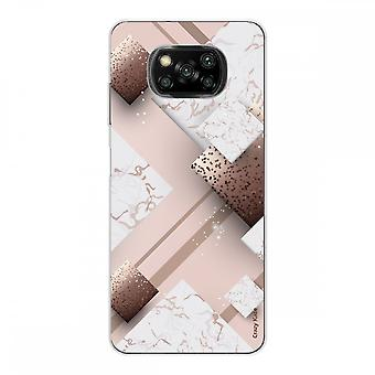 Casco para Xiaomi Poco x3 Nfc en silicona suave 1 mm, mármol rosa y chocolate