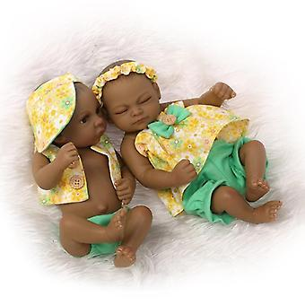 Handmade Mini Newborn Baby Realistic Black Twin Girl