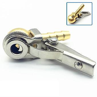 8x28mm Hose Barb Clip-on Ball Foot Air Chuck, Open (flow Through) , Brass Stem,