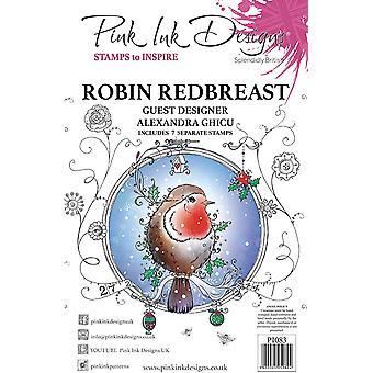 Pink Ink Designs Robin Redbreast A5 Clear Stamp Set