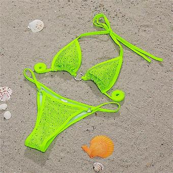 Rhinestone Shiny Bikini Set - Sexy Halter Swimsuit