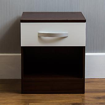 Hulio 1 Drawer Bedside Chest Cabinet High Gloss, Walnut & White