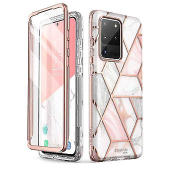 COSMO 360° Backcase Hoesje Met Screen Protector Samsung Galaxy S20 Ultra - Marble Wit