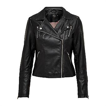 Only Womens Gemma Leather Biker Jacket PU Full Zip Outerwear Top