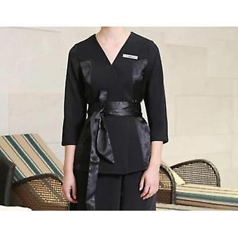 Nuovo patchwork nero Grace V-neck Camicetta + pantaloni Tea Hall Abiti uniformi