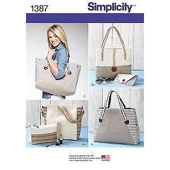 بساطة الخياطة نمط 1387 حقائب حقائب حقائب الأحجام متنوعة
