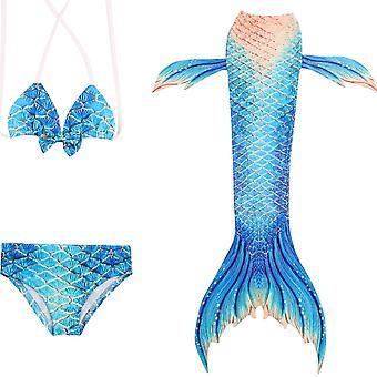 Merenneito tyttö uimapuku kolmiosainen bikini häntä uimiseen jp140