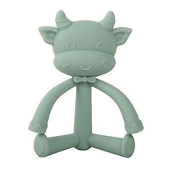 Non Toxic Silicone cow shape Baby Teether Toy,green