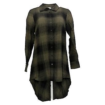 Lisa Rinna Collection Dames's Top XXS Plaid Button Hi Low Hem Groen A366021
