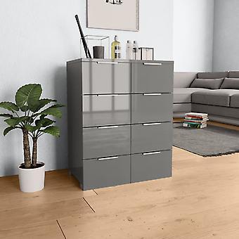 vidaXL Sideboard brillant gris 60×35×76 cm panneau de particules