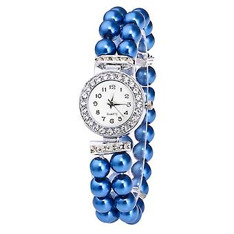 Crystal Watch, Women Pearl String Strap, Quartz Bracelet, Models Female Clock,