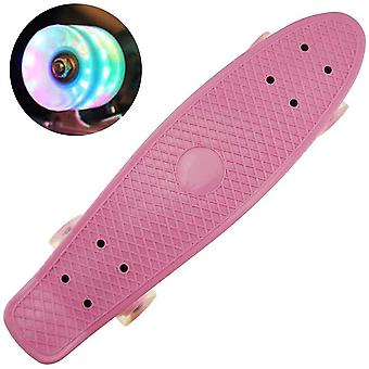 DZK Retro Cruiser Plastic Fun Skateboard,22inch, LED Light up Wheels (FRICTION LIGHT, NO BATTERY