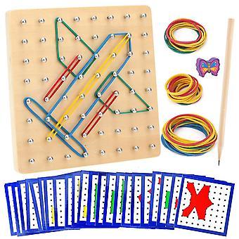 FengChun Hlz Geoboard, 8 x 8 Stifte Geometriebrett Form Puzzle Brett Inspirieren die Phantasie und