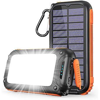 FengChun Solar Powerbank Tragbares Solar Ladegerät 26800mAh mit 32 LEDs Helles Licht USB C Power