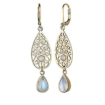 Elli Oorbellen Tropfen Ornament Orientalisch Mondstein 925 Silber