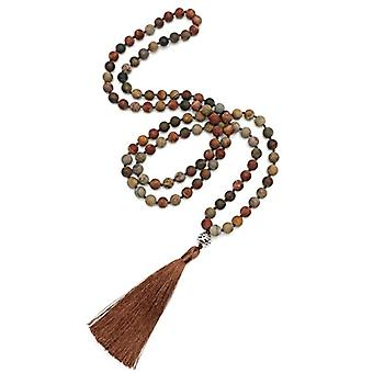 BENAVA Mala necklace with 108 pearls of women's rosary diaspro long red necklace with copper pendant and Boho Women Ref tassel. 4744999042493