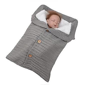 Gray baby kids toddler thick knit soft warm blanket swaddle sleeping bag x4582
