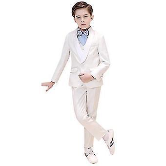 140Cm meninos brancos coloridos ternos formais 5 peça slim fit dresswear set x2447