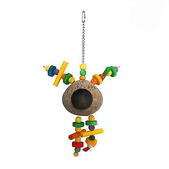 New Natural Coconut Shell Bird's Nest Wooden Bite Climbing Training Parrot Bird Toy ES2200