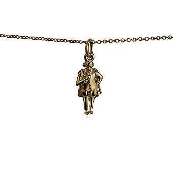 9ct goud 17x9mm William Shakespeare hanger met een kabel ketting 20 inch