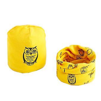 Plush Hat Scarf, Owl Print Set-4