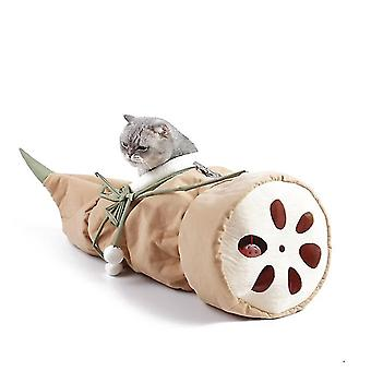Cat Folding Hammock, Lotus Root Cradle Nest, Semi-enclosed Cat Nest(Brown)