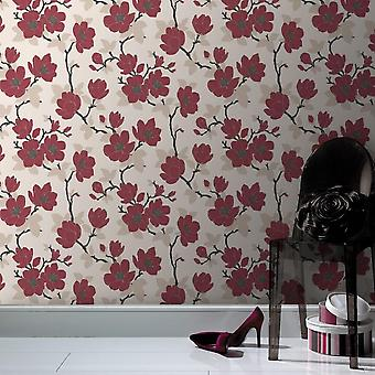 Sublime Floral Red Wallpaper