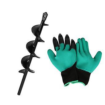 Garten Schnecke Spiralbohrer Set Garten Spiral loch Bohrer mit Handschuhen