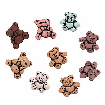 LAST FEW - Pack of 9 Novelty Teddy Bear Buttons For Sewing and Haberdashery