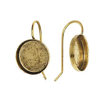 Fil de boucle d'oreille, Lunette circulaire 12mm, Or antique, 1 paire, par Nunn Design
