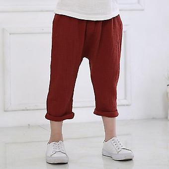 Trousers Casual Harem Pants Solid Color Linen Pleated