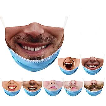 10pcs Funny Mask Halloween Creative Expression Mask Washed Reused
