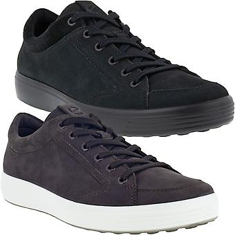 ECCO Mens Soft 7 Casual Leather Lace Up Low Rise Trainers Sneakers Shoes